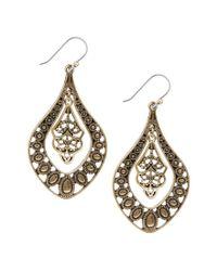 Lucky Brand - Metallic Gold Filigree Oblong Drop Earrings - Lyst