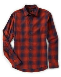 Michael Kors - Red Slim-fit Ombre Plaid Long-sleeve Woven Shirt for Men - Lyst