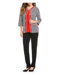 Misook - Multicolor Jewel Neck Double Button Jacket - Lyst