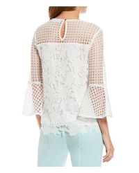 Calvin Klein - White Mixed Eyelet Lace Flare Sleeve Top - Lyst