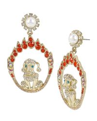 Betsey Johnson - Metallic Ring Of Fire Dog Drop Earrings - Lyst
