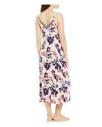 Oscar de la Renta - Blue Pink Label Floral-print Knit Long Nightgown - Lyst