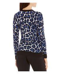 MICHAEL Michael Kors - Blue Leopard Print Fine Gauge Knit Sweater - Lyst