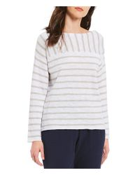 Eileen Fisher - White Bateau Neck Top - Lyst