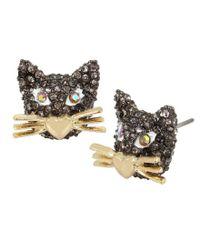 Betsey Johnson - Metallic Pav Cat Stud Earrings - Lyst