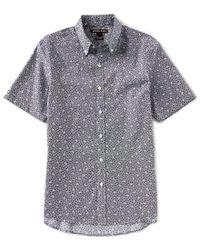 Michael Kors - Blue Slim-fit Acis Print Stretch Short-sleeve Woven Shirt for Men - Lyst