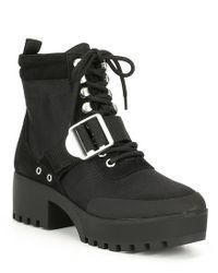 013e1eadaf9 Lyst - Steve Madden Grady Hiker Block Heel Bootie in Black