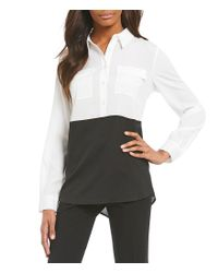 Calvin Klein - Black Colorblock Shirttail Top - Lyst