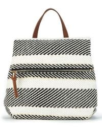 Sole Society - Black Medina Striped Backpack - Lyst