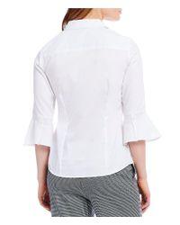 Jones New York - White Easy-care Cotton Bell Sleeve Shirt - Lyst