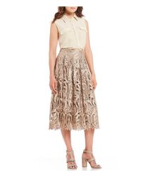 Antonio Melani - Multicolor Diana Embroidered Lace Pleated Swing Midi Skirt - Lyst