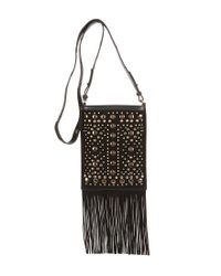 Lucky Brand - Black Colima Studded Fringed Cross-body Bag - Lyst
