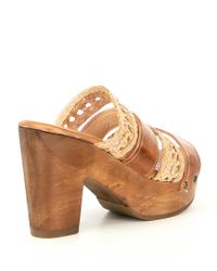 Bed Stu - Brown Crystal Banded Woven Block Heel Sandals - Lyst