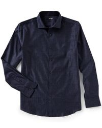 Murano - Blue Slim-fit Jaspe Stripe Coatfront Spread Collar Long-sleeve Woven Shirt for Men - Lyst