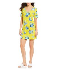 Draper James - Yellow Hillsboro Summerall Floral Print Knit Dress - Lyst