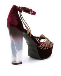 Guess | Blue Peakabo Platform Velvet Dress Sandals | Lyst