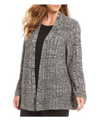 Eileen Fisher - Black Plus Size Simple Cardigan - Lyst