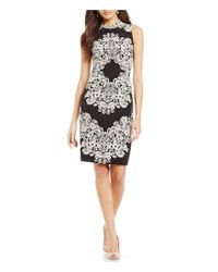Adrianna Papell - Black Lace Printed Mock Neck Sheath Dress - Lyst