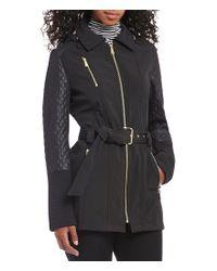 MICHAEL Michael Kors   Black Soft Shell Center Zip Coat   Lyst