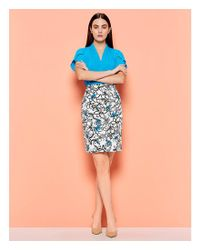 CALVIN KLEIN 205W39NYC - Blue Sketched Floral Print Stretch Cotton Suiting Pencil Skirt - Lyst