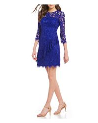 Eliza J - Blue Ruffle Lace Fit And Flare Dress - Lyst