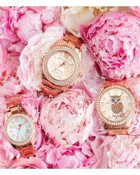 Betsey Johnson - Metallic Boxed Rose Gold Bracelet Crystal Index And Bezel Watch - Lyst