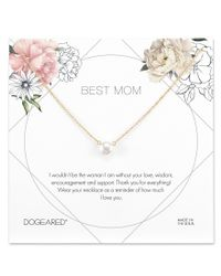 Dogeared - Metallic Best Mom Pearl Necklace - Lyst