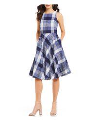 Eliza J - Blue Check Midi Dress - Lyst