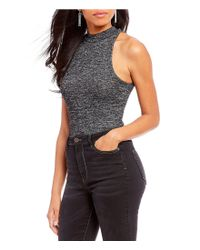 Gianni Bini - Blue Luna Solid Sleeveless Mock Neck Bodysuit - Lyst