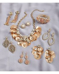 Belle By Badgley Mischka - Metallic Fancy Petals Statement Necklace - Lyst