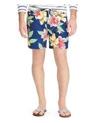 """Polo Ralph Lauren - Blue Traveler Vintage Hibiscus 5 3/4"""" Swim Trunks for Men - Lyst"""