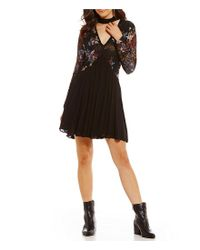 Chelsea & Violet Black Embroidered Lace Dress