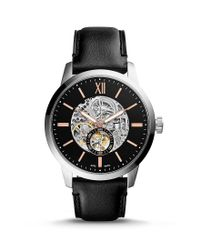 Fossil - Black Townsman Automatic Leather-strap Watch - Lyst