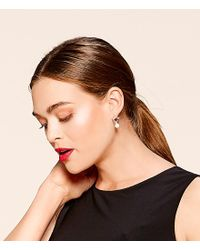 Lauren by Ralph Lauren - Metallic Hoop With Pearl Drop Earrings - Lyst