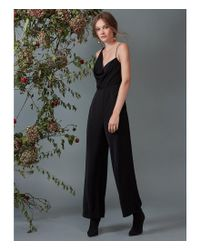 Keepsake Black Be Mine Asymmetric Cowl Neck Jumpsuit