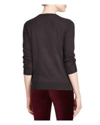 Lauren by Ralph Lauren - Gray Petite Floral Embroidered Cotton Sweater - Lyst