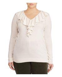 Lauren by Ralph Lauren Natural Plus Ruffled V-neck Sweater