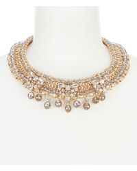 Belle By Badgley Mischka - Metallic Fancy Bead Drop Collar Necklace - Lyst