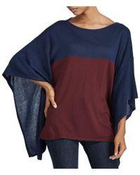 Lauren by Ralph Lauren - Blue Color-blocked Silk-blend Poncho - Lyst