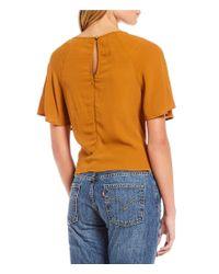 June & Hudson - Orange Tie Front Woven Top - Lyst
