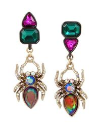 Betsey Johnson - Multicolor Spider Mismatched Drop Earrings - Lyst