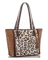 Brahmin - Brown Capella Collection Medium Asher Leopard-print Haircalf Tasseled Tote - Lyst