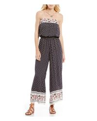 Chelsea & Violet | Multicolor Strapless Printed Jumpsuit | Lyst