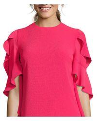 Nicole Miller - Pink Side Ruffle Shift Dress - Lyst