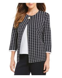 Ming Wang - Blue Jewel Neck Check Pattern Jacket - Lyst