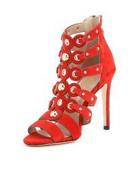 Nicole Miller - Red Napoli Suede Gladiator Dress Sandals - Lyst