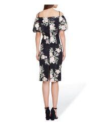 Tahari - Black Off The Shoulder Floral Print Sheath Midi Dress - Lyst