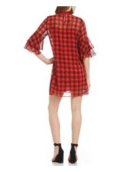 Sugarlips - Riley Red Plaid Ruffle Bell Sleeve Shift Dress - Lyst