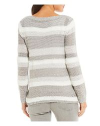 Ruby Rd - Gray Long Sleeve Mixed Novelty Textured Yarns Pull-over Sweater - Lyst