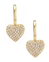 Kate Spade - Metallic Pav Heart Drop Earrings - Lyst